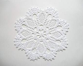 Large Crochet Doily White Cotton Lace Table Topper with Large Fan Edge and Picos Heirloom Quality