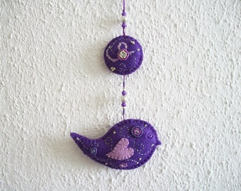 Felt Ornament Purple Folk Art Bird Wall Hanging Hand Beaded and Embroidered Hand Sewn One of a Kind