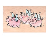 The Pink Squadron! Flying Pig Rubber Stamp • Pig Stamp (Penny Black) Woodblock Craft Stamp • Scrapbooking • Card Making • Papercraft (2602K)