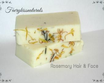 Rosemary Calendula Face and Hair Soap - Rustic Handmade Soap