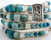Handmade Four Wrap Hemp Wrap Bracelet with Turquoise Dyed Agates and White Swarovski Elements