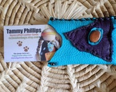 Handmade Turquoise colored Deerskin Leather Business / Credit Card Holder