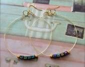 Hoop Earrings Metallic Blue Cube Bead Earrings Gold Colour