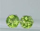 Peridot Stud Earrings 7mm Round 2.80ctw Sterling Silver Natural Untreated