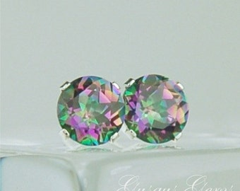 Rainbow Mystic Topaz Stud Earrings 6mm Round 1.70ctw Sterling Silver