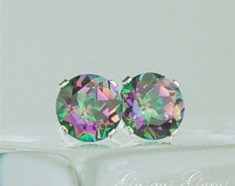 Rainbow Mystic Topaz Stud Earrings 6mm Round 1.70ctw Sterling Silver