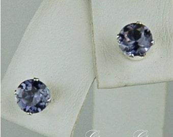 Iolite Stud Earrings 5mm Round .70ctw Sterling Silver