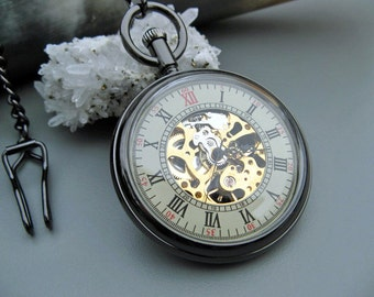 Premium Engravable Black Pocket Watch, Pocket Watch Chain - Personalized Gift, Wedding, Engravable, Groomsmen Gift, Watch - Item MPW822