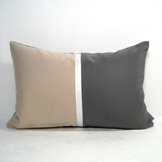 Grey Color Block Pillow Cover Beige & Grey Decorative by Mazizmuse