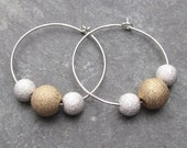 Large Hoop Earrings Sterling Silver and 14K Gold Fill Stardust Sparkle Balls on Sterling Silver Ear Wires