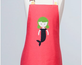 Toddler/KId Size Double Sided Appliqué Mermaid Apron