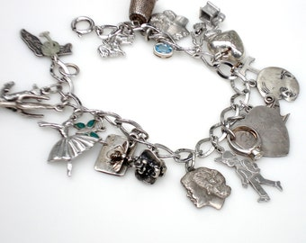 Sale ~ Vintage Sterling Silver Charm Bracelet - Mother's Theme: 20 Charms
