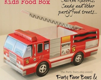FireTruck Food Box-6 Cute Kids Party Food Tray-Fire Fighter Party-Boys Birthday Party-Fire Engine Party-Table Place Settings-Party Favor Box