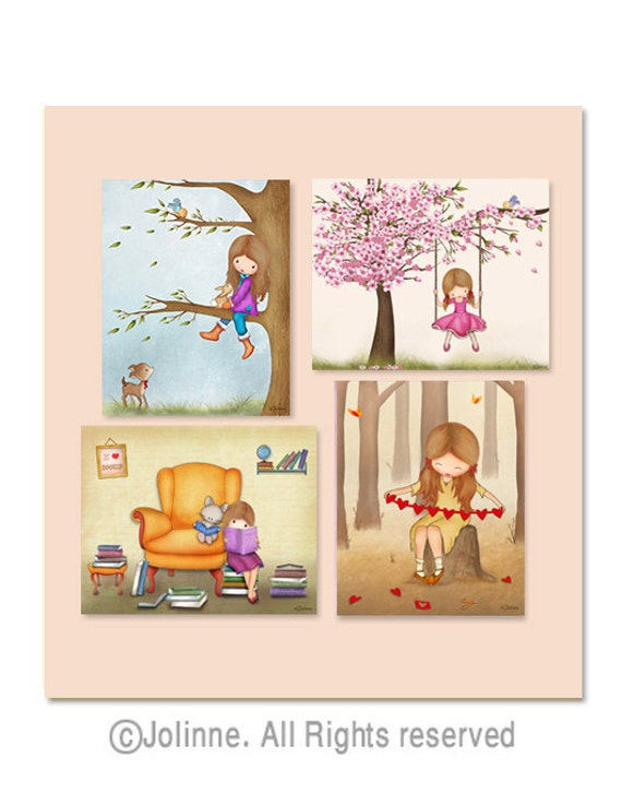 Girls room wall art set of 4 posters kids room art prints for Etsy dining room wall art