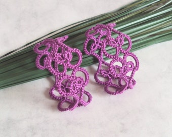 Orchid Heart Napkin Rings in Tatting - Valencia - Set of Two