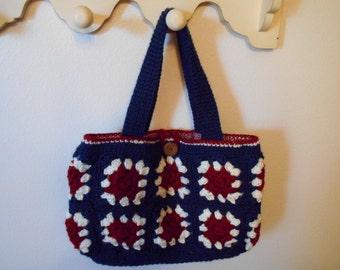 Crochet Granny Square Hobo Purse Bag