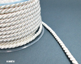 Twisted silk cord, 5mm, white satin rope, 2 meters