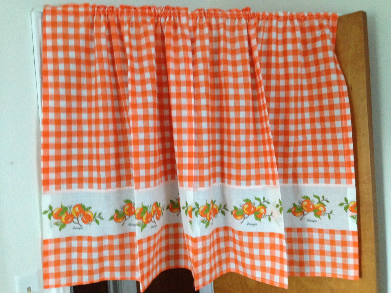 orange gingham kitchen curtain vintage by laceycbelldesigns