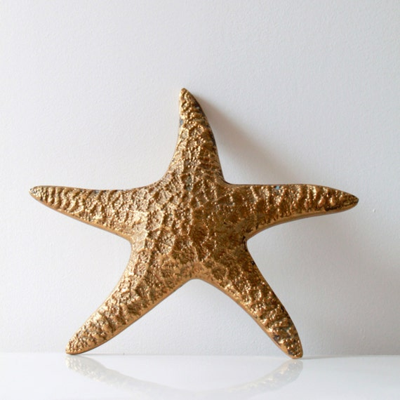 Vintage Star Wall Decor : Vintage golden brass starfish wall decor by fullcircleretro