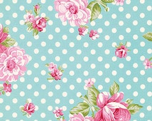 OOP HTF Rosey Fabric by Tanya Whelan Roses and Mums Pink Rose Roses with Polka Dots Dot on Teal Aqua Blue
