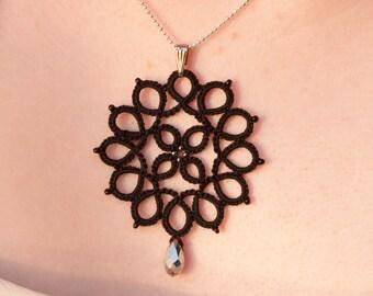 Black Lace Pendant, Black Lace Jewelry, Black Necklace, Tatted lace Pendant, Handmade Shuttle Tatted Lace, Women, Black Pendant Necklace