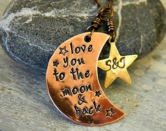 hand stamped personalized love you to the moon necklace