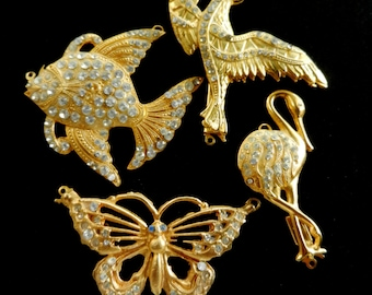 Clasps for jewelry - vintage 1970 - Animalier style, crystal and gold - 4 pieces, elegance and originality to your jewelry--Art.922/2--
