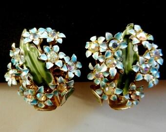 Lovely Vintage Gold Tone Blue Enamel AB Rhinestone Clip On Earrings -fantastic  floral design 1950 -Art.27/3 --