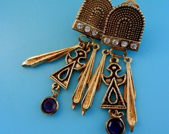 Stunning long Earrings 1970 vintage-original Italian jewelery -gold and crystal -exquisite design dangling  & very good quality-Art.338/3--