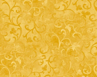 Wilmington Prints/Scroll Fabric/Dark Yellow/Quilt Fabric/89025 550/Quilting Blender/Fabric by the Yard/Cotton/Quilt/Wilmington Fabric