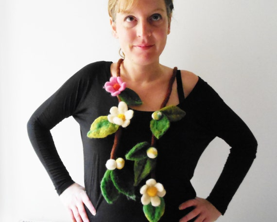 felt necklace, felt fiber flowers and leaves eco friendly felted lariat, statement necklace