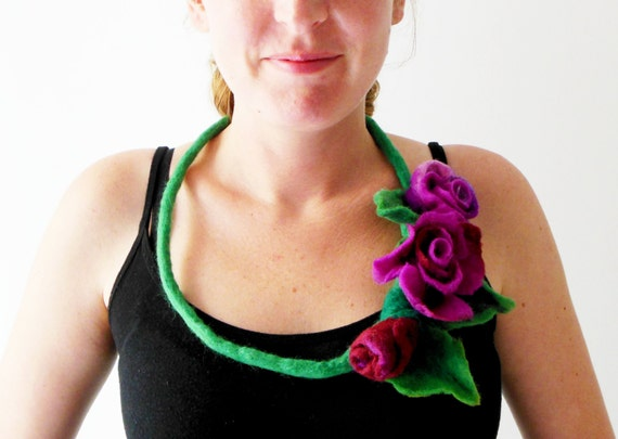 felt statement necklace, felt flower roses fiber art romantic bib necklace