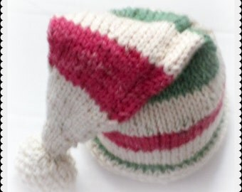 Elf Hat, Striped Stocking Cap,  Christmas Photo Prop, Baby's First Christmas