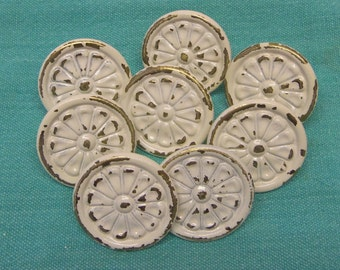 FREE SHIPPING Shabby Knobs Drawer Pulls Chippy Upcycled White 1.3 Inch Distressed Set of 8