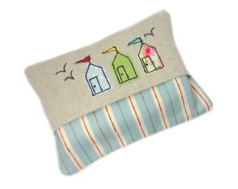 Travel Tissue Case, Pocket Tissue Cover,  Beach Huts, Stocking Stuffer