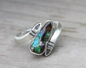 Boulder Opal Tribal Silver Ring Blue Green Natural - Trapped Wing