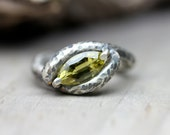 Neon Chartreuse Chrysoberyl Silver Ring Yellow Insect - Hornet's Nest