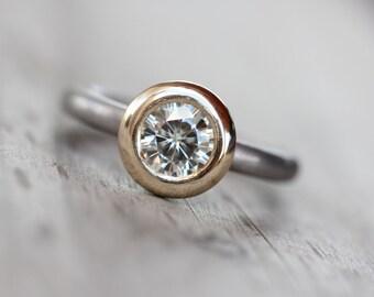 Modern Engagement Ring Round Moissanite Gray Palladium 14K Yellow Gold Elegant Simple Forever Brilliant Gemstone Bridal - Industrial Halo