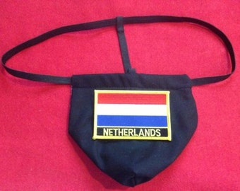 Mens NETHERLANDS Winter Olympics G-String Thong Male Soccer World Cup Lingerie Country Underwear