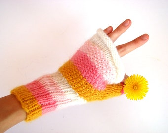 Pink fingerless gloves, rainbow mittens, winter accessory, women
