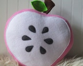Cute Fruit, Pink Apple Slice Plush,  Plush Apple, Food Pillow