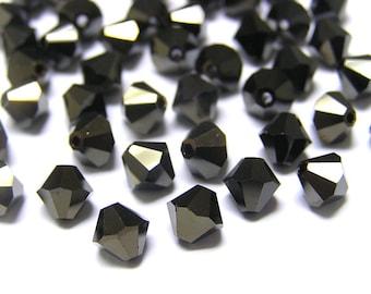 30 pcs JET NUT 2X Swarovski Crystal 5301 6mm Bicone Beads Wholesale Destash