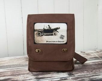 Get Your Kicks on Route 66 - Driving Labrador Retriever - Vintage Photograph - Java Brown Messenger Bag - Field Bag - Canvas Bag