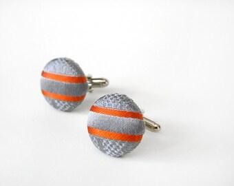 Silver Cufflinks Orange Stripes Recycled Necktie Button Cufflinks
