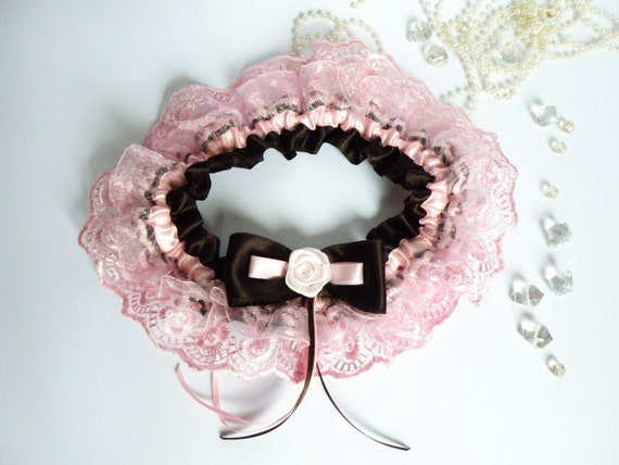 Wedding Bridal Garter with Lace Embellishment Dark brown and pink color Ribbon Rose