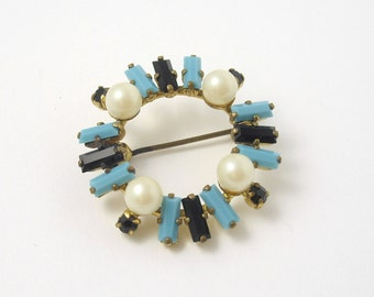 Glass Turquoise Brooch, Turquoise and Black Brooch, Faceted Glass Brooch, Faux Pearl Brooch, Retro Brooch