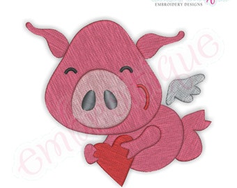 Flying Pig with Heart Filled - Instant Download -Digital Machine Embroidery Design