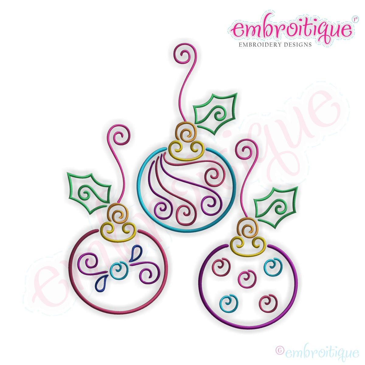 Twirly ornament trio embroidery design small instant email