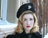 Vintage 1930s Black Satin Deco Hat with Diamante Pin