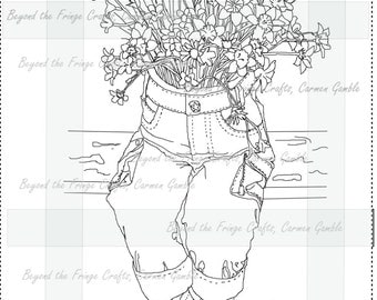 Flowerpants Digital Stamp